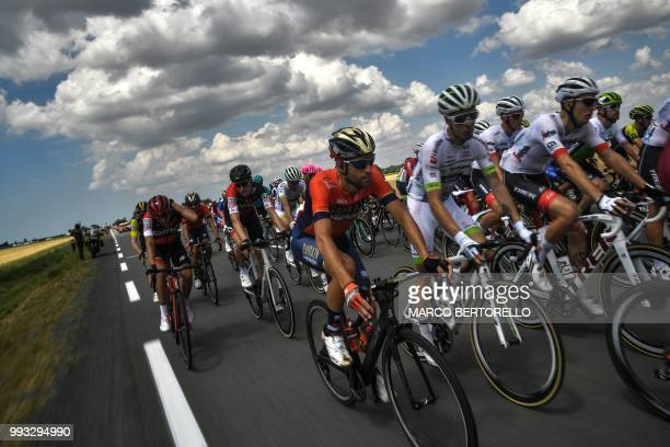 Italy's Vincenzo Nibali rides in the pack during the first stage of the 105th edition of the Tour de France cycling race between Noirmoutierenl'ile...