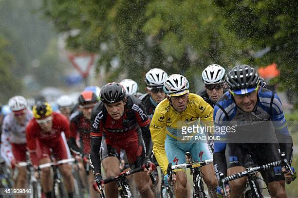 Italy's Vincenzo Nibali wearing the overall leader's yellow jersey rides in the pack during the 1525 km fifth stage of the 101st edition of the Tour...