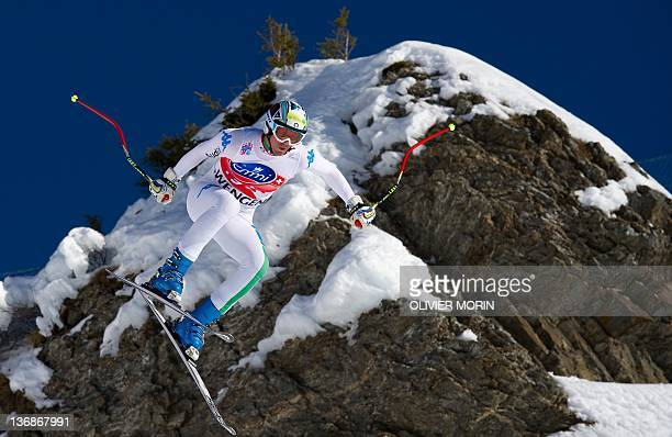Italy's Werner Heel jumps at the Hundschopf during the second training session of the FIS World Cup Men's Downhill on January 12 2012 in Wengen AFP...