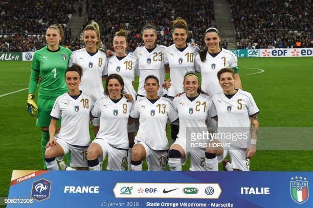 Italy's women football players Barbara Bonensea Daniela Sabatino Elisa Bartoli Benedetta Glionna Elena Linari and Laura Giuliani Martina Rosucci...