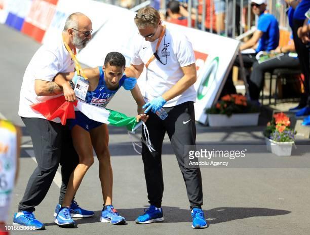 Italy's Yassine Rachik wins bronze medal at the Men's Marathon final race during the 2018 European Athletics Championships at Potsdamer Platz in...