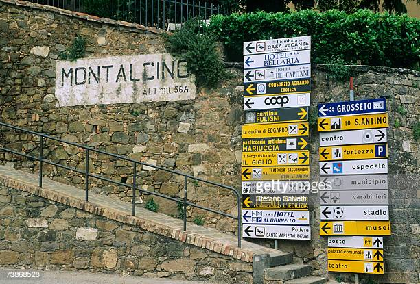 Italy,Tuscany, Montalcino, Direction signs