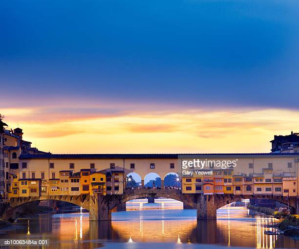 italy,tuscany,florence, ponte vecchio at sunset (long exposure) - ponte vecchio stock photos and pictures