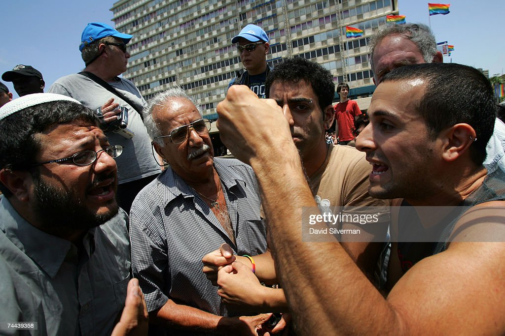 Itamar Ben Gvir (L), a far-right religious Israeli activist, argues with gay activists during the annual Gay Pride rally, on June 8, 2007 Tel Aviv, Israel's most cosmopolitan city. Thousands of alternative lifestyle Israelis took advantage of the mild summer weather to celebrate sexual freedom amidst calls from Jewish, Muslim and Christian religious leaders to ban a similar rally in Jerusalem later this month.