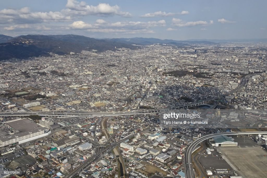 Itami city in Hyogo prefecture in Japan daytime aerial view from airplane : Stock-Foto