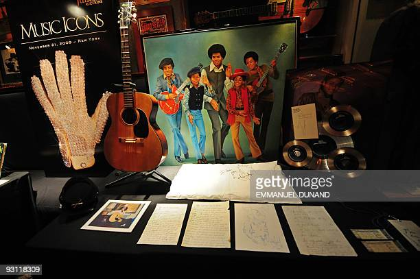 Items and memorabila from late US music legend Michael Jackson are on display at an auction preview in New York November 17 2009 All items including...