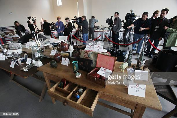Items are displayed at a press preview of an auction of 400 pieces of personal property jewelry and antiques from Bernard and Ruth Madoff November 10...