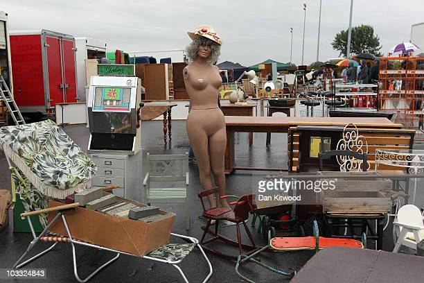 Items are displayed for sale on a stall at the Sunbury Antiques Market on August 10 2010 in Sunbury England The market has been running for over 20...