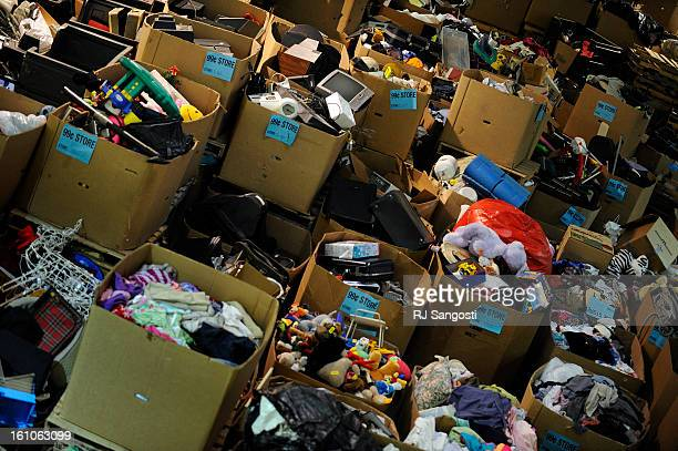 THRIFT11 Items are piled up in boxes at Goodwill Industries in Denver on Federal Blvd ready to be sold in the 99 cent Goodwill store RJ Sangosti/ The...