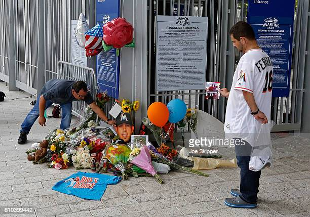 Items are placed at a memorial at Marlins Park for Miami Marlins pitcher Jose Fernandez September 25 2016 in Miami Florida Fernandez died in a...