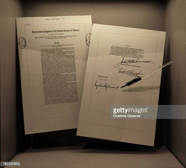 Items displayed at the International Civil Rights Museum include the 1965 Voting Rights Act, and the pen President Lyndon B. Johnson used when he...