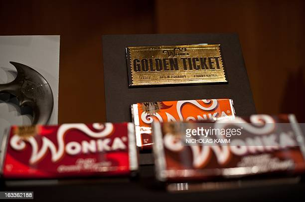 Items from the 2005 film Charlie and the Chocolate Factory by Warner Bros are seen during a ceremony at the National Museum of American History as...