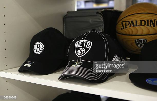 Items in the Brooklyn Nets team store bear the teams logo prior to the game against the Los Angeles Clippers at the Barclays Center on November 23...
