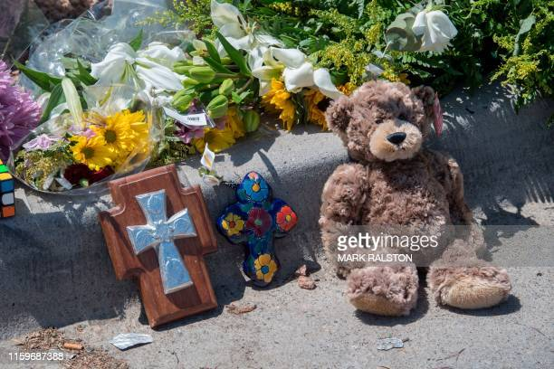 Items left at a makeshift memorial outside the Cielo Vista Mall WalMart where a shooting left 20 people dead in El Paso Texas on August 4 2019 Texas...