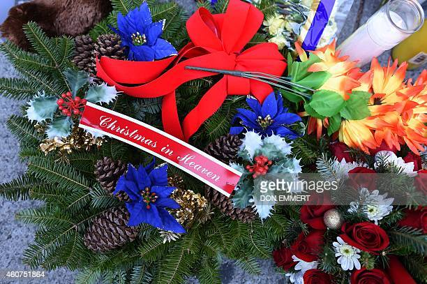 Items left at a memorial near Tompkins Ave and Myrtle Ave December 21 2014 in New York near the site where two New York City police officers were...