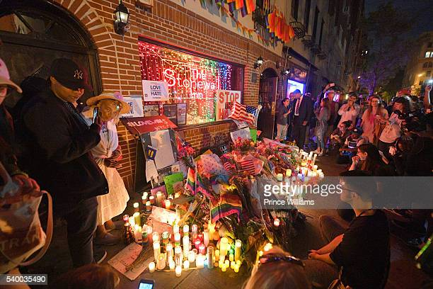 Items Left in Front of Stonewall Inn In Remembrance of the Casualties of the Orlando Massacre on June 13, 2016 in New York City.