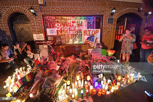 Items Left in Front of Stonewall Inn In Remembrance of the Casualties of the Orlando Massacre on June 13 2016 in New York City