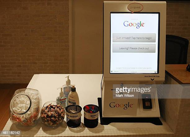 Items on a table in the lobby of Google's Washington headquarters January 8 2015 in Washington DC Google held a news conference with Right4Girls and...