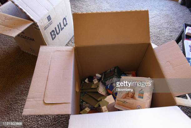 Items sit inside a Bulqcom box at the home of a liquidation reseller in Napa California US on Thursday March 14 2019 As overwhelmed retailers search...