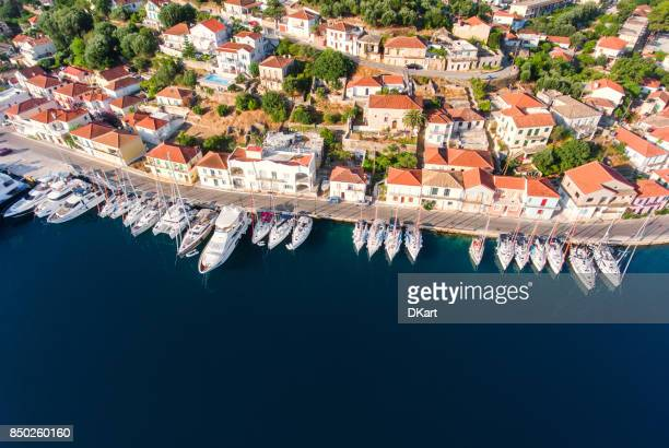 ithaca yachts parking aerial view - republic of cyprus stock pictures, royalty-free photos & images