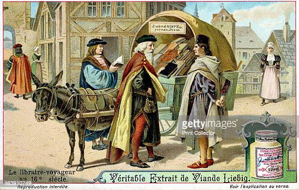 Itinerant 16th century bookseller with covered donkey cart full of books late 19th century Liebig trade card