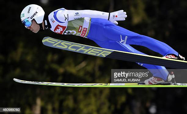 Ito Daiki of Japan competes during a training session of the Four Hills competition of the FIS Ski Jumping World Cup in Innsbruck on January 3 2015...