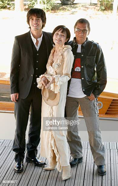Ito Hideaki Momoi Kaori and Miike Takashi arriving by boat at the Palazzo del Casino for the Sukiyaki Western Django Movie Press Conference on...
