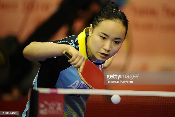 Ito Mima of Japan competes against Nanthana Komwong of Thailand during the 2016 World Table Tennis Championship Women's Team Division Round 4 match...