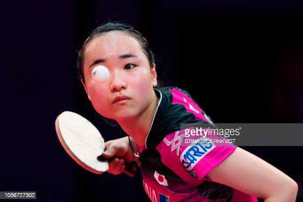 TOPSHOT Ito Mima of Japan in action against Liu Shiwen of China during the women's quarterfinal table tennis match at the Swedish Open Championships...