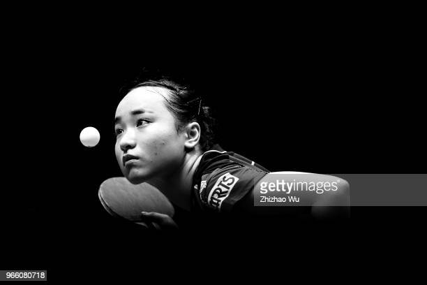 Ito Mima of Japan in action at the women's singles semifinal compete with Wang Manyu of China during the 2018 ITTF World Tour China Open on June 1...