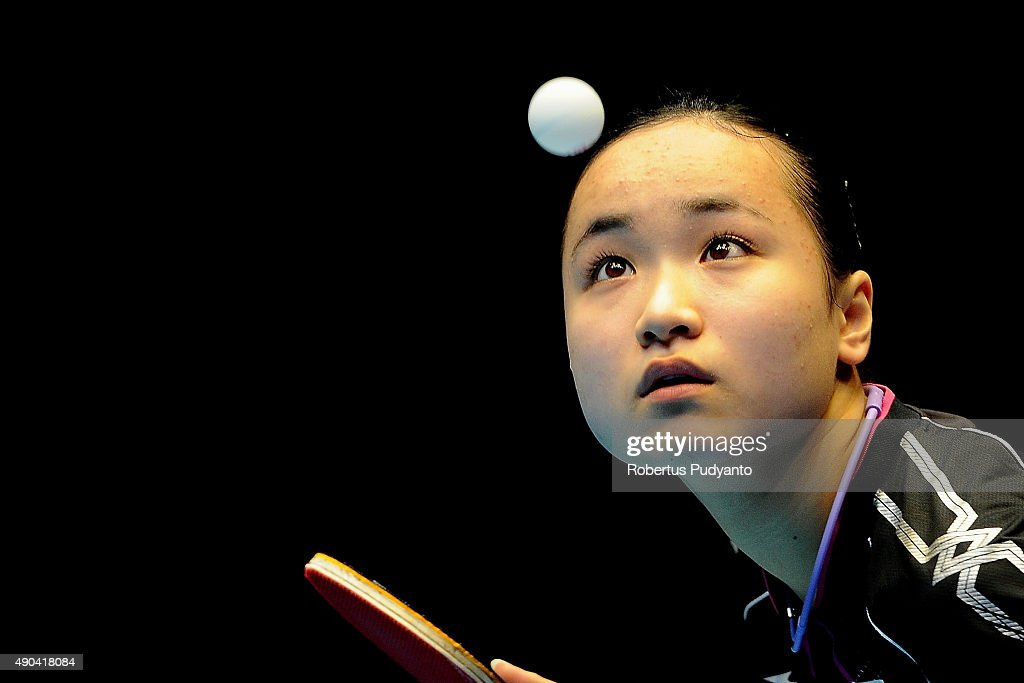 Ito Mima of Japan serves against Ding Ning of China during Women's Team Champion Division final match of the 22nd 2015 ITTF Asian Table Tennis Championships at Pattaya Sports Indoor Stadium on September 28, 2015 in Pattaya, Thailand.