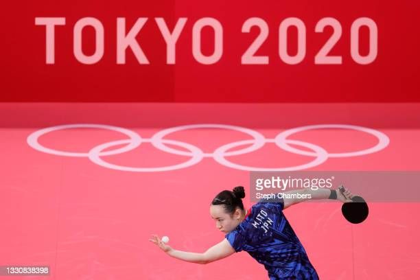 Ito Mima of Team Japan serves the ball during her Women's Singles Round 3 match on day four of the Tokyo 2020 Olympic Games at Tokyo Metropolitan...