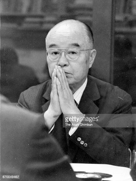 Itochu Corp President Masakazu Echigo attends a press conference on March 14, 1974 in Tokyo, Japan.