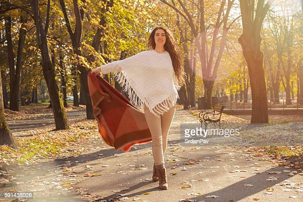 it's a beautiful autumn again! - shawl stock photos and pictures