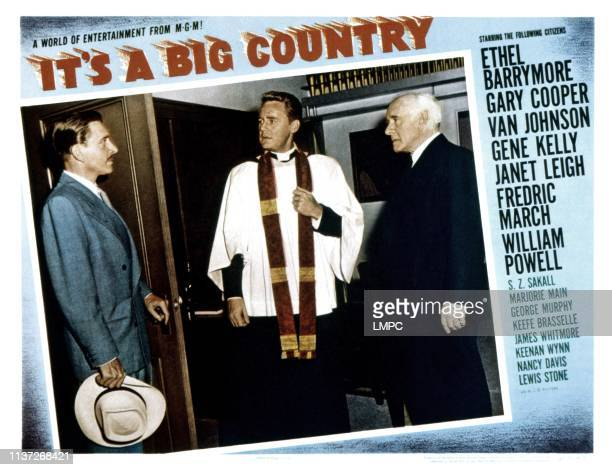 It's A Big Country lobbycard from left Leon Ames Van Johnson Lewis Stone 1951