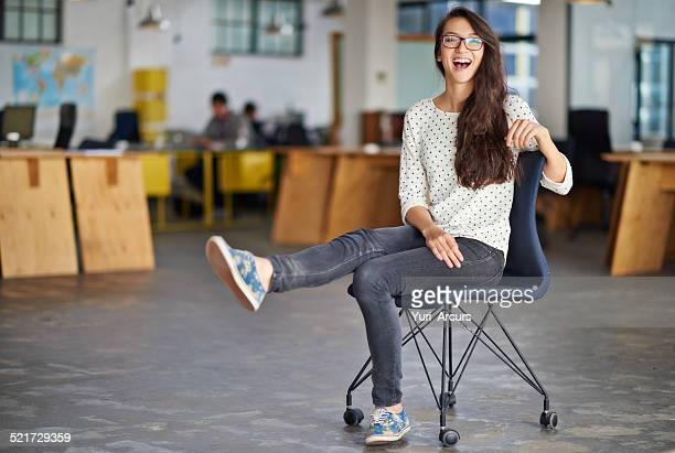 it's a chilled place to work - office chair stock pictures, royalty-free photos & images