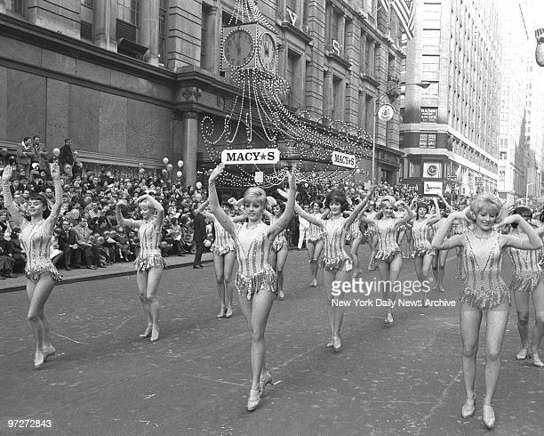It's a fine marching day for Radio City Rockettes who brighten the Macy's Thanksgiving Day parade on 34th St