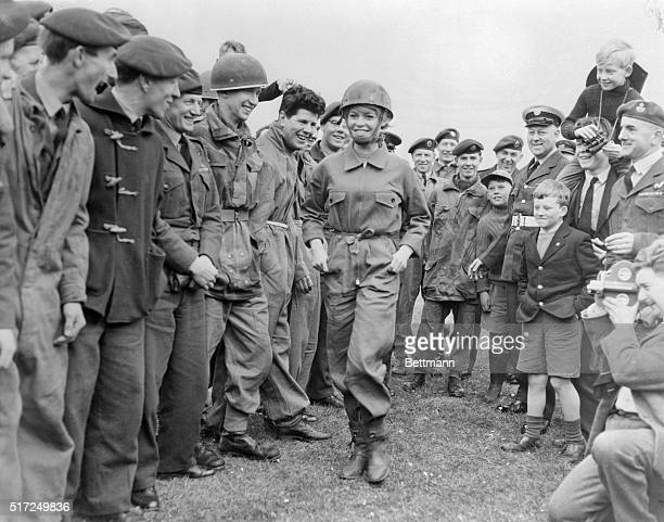 It's eyes right eyes left eyes up and eyes down as these Royal Air Force boys get a close look at French screen star Brigitte Bardot here April 11th...