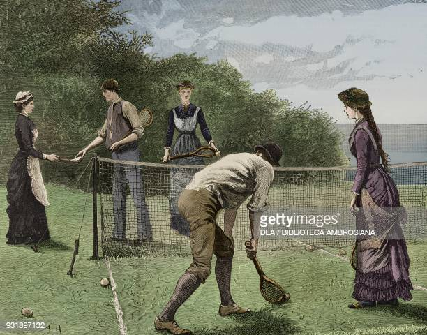 It's for you Mr Christopher said Lucy a tennis game drawing by Arthur Hopkins from the novel Kit A Memory chapter IX by James Payn illustration from...