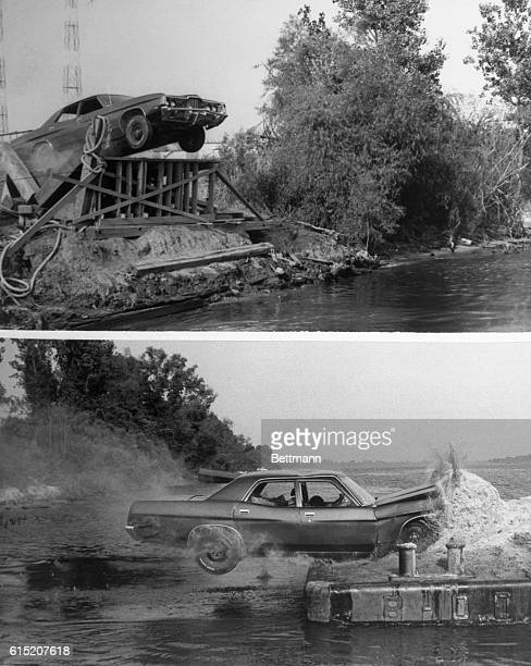 It's front wheels already off the end of a ramp on an Arkansas River wharf a car driven by stuntman Hal Needham is about to make a 63foot leap to a...