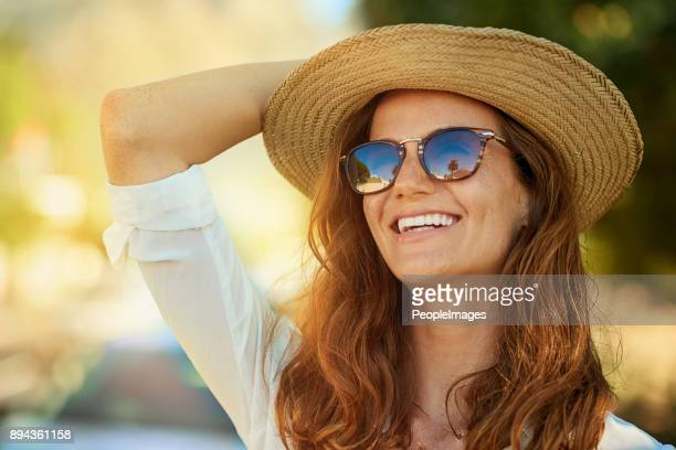 it's hard not to be happy when it's summer - sun hat stock pictures, royalty-free photos & images