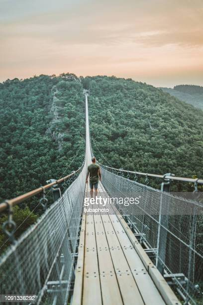 it's hard to look back when you've seen so much - suspension bridge stock pictures, royalty-free photos & images