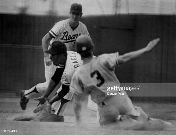 It's Hard to Tell if Denver's Tom Ragland Will Catch Ball or Eat it With mouth open Bears infielder gets ball too late to stop steal by Omaha's Jim...