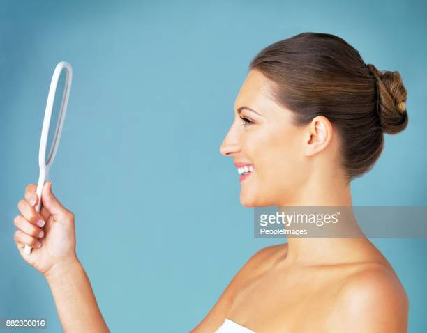 it's how you see yourself that counts - hand mirror stock pictures, royalty-free photos & images