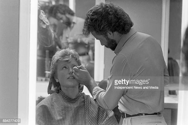 It's make-up time for presenter Moya Doherty in the make-up studio at RTE, with make-up artist John Havelin, before presenting Breakfast LA/Daybreak...