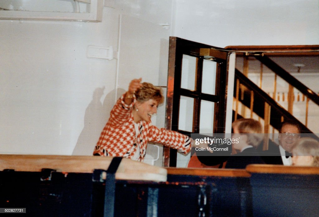 It's Mum!; Diana; Princess of Wales; runs to hug her young sons; Harry and William; after arriving l : News Photo