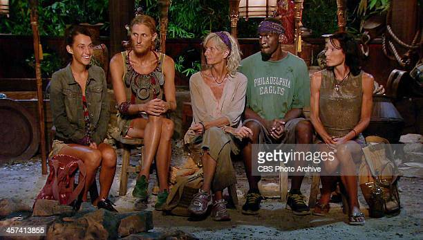 It's My Night Ciera Eastin Tyson Apolstol Tina Wesson Gervase Peterson and Monica Culpepper at Tribal Council on a special twohour season finale of...