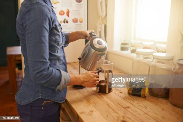 it's not a good morning without good coffee - making stock pictures, royalty-free photos & images