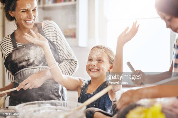 it's not flour, it's fairy dust! - messy stock photos and pictures