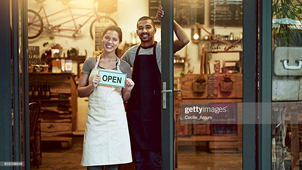 It's official! We're open for business : Foto de stock